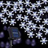 Bigger Snowflake Solar String Lights 80 LED 33 Feet 8 Modes Waterproof Solar Powered String Fairy Lights for Patio Home Gardens Outdoor Holiday Christmas Tree Party Decorations