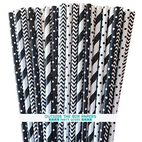 Paper Straws - Black and White - Stripe Chevron and Polka Dot - 7.75 Inches - 100 Pack