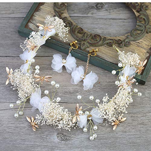 KDYSMWD Braut Weiß Seide Blume Stirnband Kopfschmuck Girlande Hochzeitskleid Haarschmuck Brautkleid Accessoires