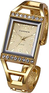 Womens Fashion Gold Analog Quartz Bangle Cuff Bracelet Watch Rectangle Case Arabic Numerals Rhinestones Dress Jewelry Wrist Watches 6.5 Inches #2