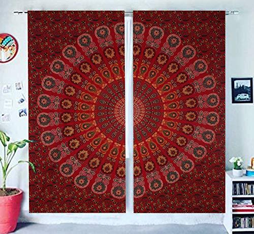THE ART BOX Indian Mandala Curtain Kitchen Window Curtains Curtain & Valance Set Dorm Tapestry,Indian Drape Balcony Room Decor Curtain Boho Set Hippie Curtain Panel