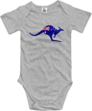 Flag of Australia with Kangaroo Unisex Baby Jumpsuit Cotton Outfits for 0-24 Months Baby