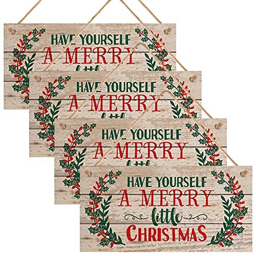 4 piezas Cartel de Madera Navidad Letrero de madera de navidad Decoración de letrero colgante de Navidad Tablero Cartel de madera para la decoración de la pared de la puerta del hogar de Navidad ✅
