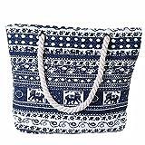 Neuleben Strandtasche mit Reißverschluss Damen Groß Shopper Fashion Tasche (Blau Elefant)