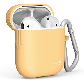 Ringke AirPods Case (2019), AirPods Skin Accessory Soft Flexible TPU Cover with Carabiner - Honey Mustard