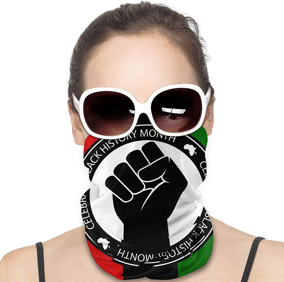 Kiuloam Women Bandanas Face Mask, Celebrate Black History Neck Gaiter Mask Headband for Men Face Scarf Dust, Outdoors, Sports