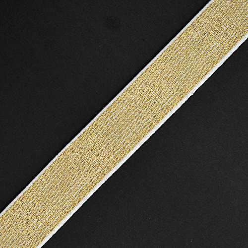 4-Yards 25mm Metallic Elastic Stretch Ribbon Trim, Elastic Band, TR-11201 (Gold)
