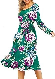 فساتين الخريف من Kyerivs بأكمام طويلة للنساء وجيوب عمل بسيط فستان كاجوال متوسط الطول مع حزام