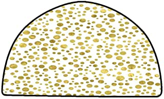 Office Chair Floor Mat Foot Pad Polka Dots,Illustration of Golden Polka Dots Vintage Style Art Deco Pattern Bridal Decor,Gold White,W31 x L20 Half Round Bedroom Rugs