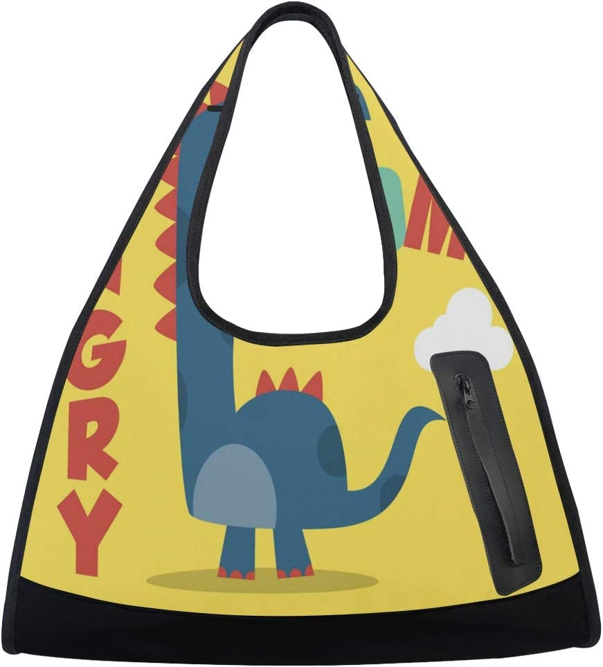 Challenge the lowest price of Japan ☆ Words Mom Hungry Cartoon Dinosaur Pattern Women Totes Sports Gym shopping