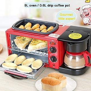 HIGHKAS Mini Horno eléctrico multifunción 3 en 1 con cafetera sartén Antiadherente, máquina Desayuno eléctrica, Horno 9 litros, cafetera 0.6 litros