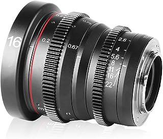 Meike 16mm T2.2 Large Aperture Manual Focus Mini Cinema Lens for Micro Four Thirds M43 MFT Cameras