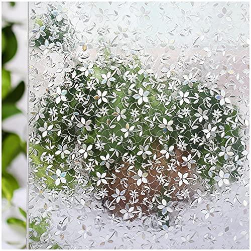 CottonColors 窓ガラスフィルム 目隠しシート 何度も貼直せる 窓用フィルム 紫外線カット 90x200cm のり無し 3Dステンドグラス DIY 012桜