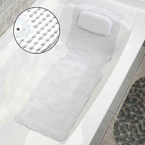 COCOCITY Alfombra Antideslizante De Baño Alfombrilla de baño Extra Larga 36X125 cm Alfombra de baño de Esponja Antideslizante Cojines de baño con 30 ventosas +Almohada de bañera Blancas