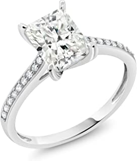 10K White Gold Timeless Brilliant Created Moissanite and Diamond Women's Engagement Ring 1.60ct (DEW) Available in size 5, 6, 7, 8,