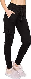 Women Cargo Jogger Pants - Lightweight Skinny Solid Soft Stretch Drawstrings Pockets Sweatpants