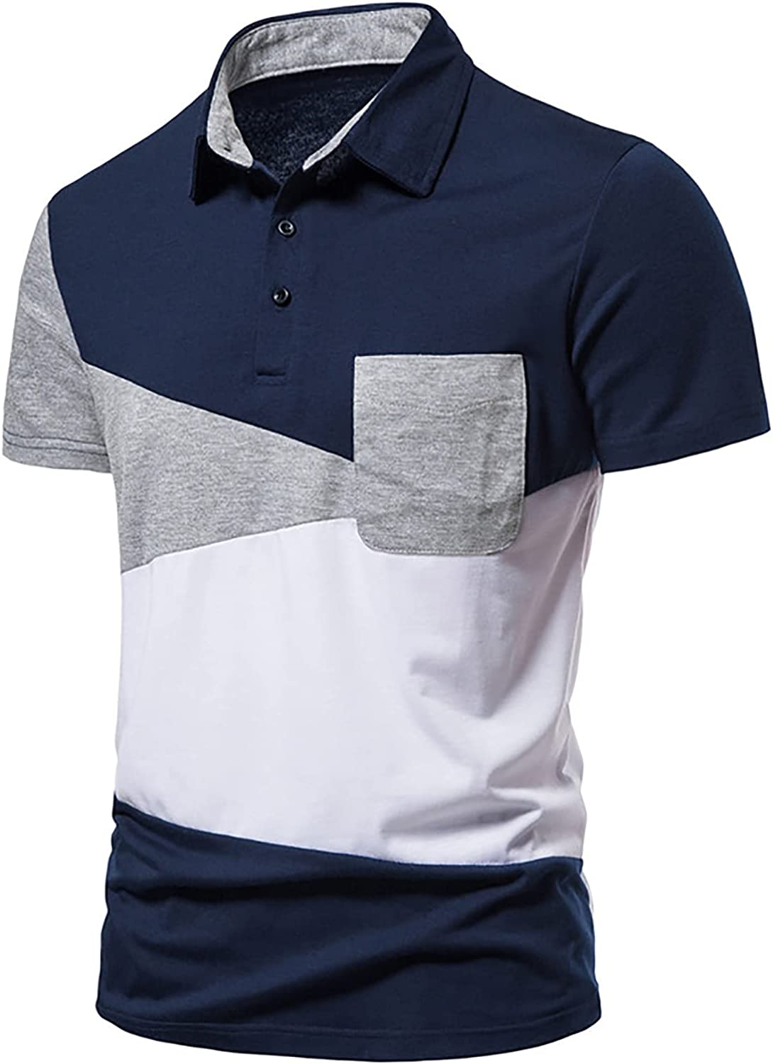 Men's Short Sleeved Patchwork Blouse Button Down Outdoor Tops Turn-Down Collar Faction Polo-Shirt