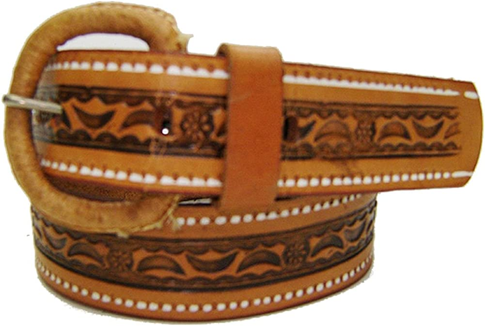 Modestone Boy's Extra Small Sizes Embossed Leather Belt 1'' Width Tan