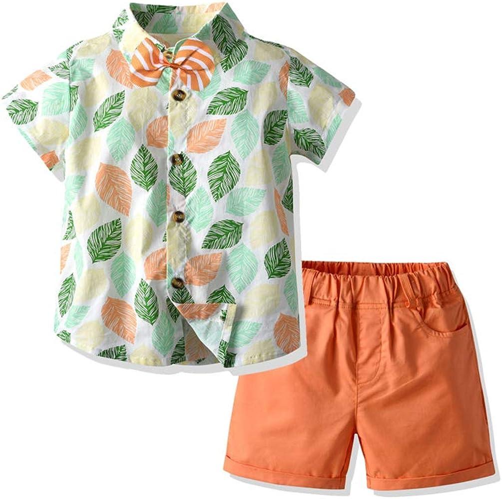 Toddler Baby Boy Summer Hawaiian Outfit Kids Floral Shirt+Shorts Gentleman Button Down Suit