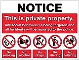 Caledonia Signs 27113K - Letrero de propiedad privada antisocial