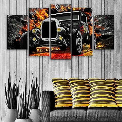 WKXZZS Quadro Moderno 5 Pannelli Auto Classica Nera Hot Rod retrò Canvas Painting,5 Pezzi Quadri Moderni Dipinti Foto per Soggiorno Camera da Letto Divano TV Sfondo Gym Home Decor