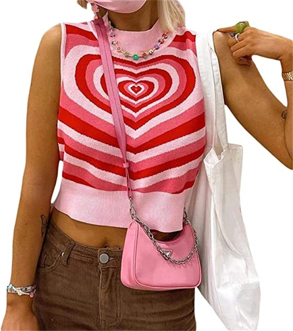 YHGFGF - Y2k Heart-Shaped Sleeveless Vest, Summer Knitted Sweater Vests, Vintage 90s Girl Streetwear