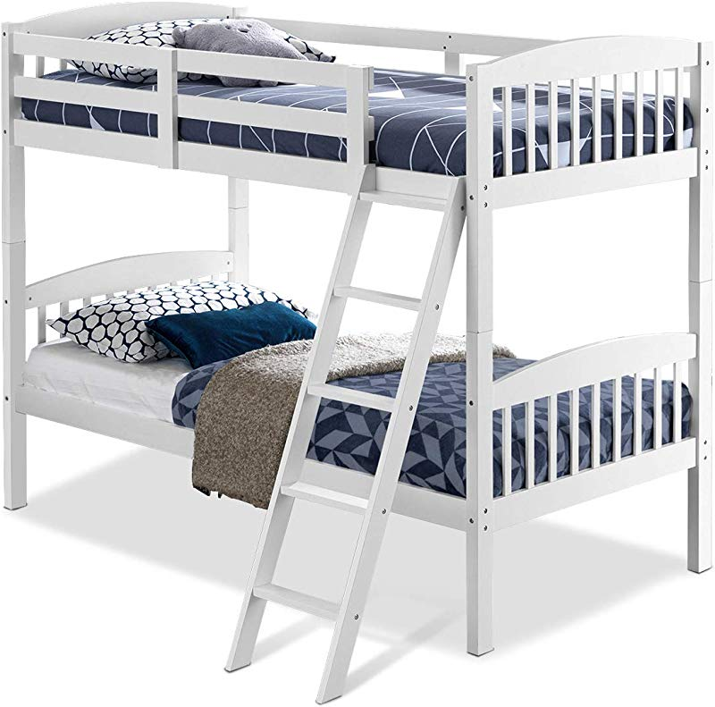 Costzon Twin Over Twin Bunk Beds Convertible Into Two Individual Solid Wood Beds Children Twin Sleeping Bedroom Furniture W Ladder And Safety Rail For Kids Boys Girl White