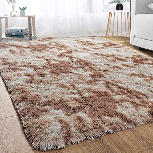 Modern Soft Indoor Shaggy Fur Area Rug for Bedroom Livingroom Decorative Fluffy Floor Carpet, Non-slip Comfy Plush Abstract Furry Fur Rugs for Boys Girls Dorm Nursery Large Accent Rugs 5x8 Feet, Brown