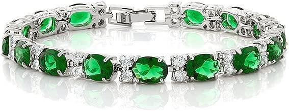 Gem Stone King 40.00 Ct Oval & Round Green Color Cubic Zirconias CZ Tennis Bracelet 7 Inch