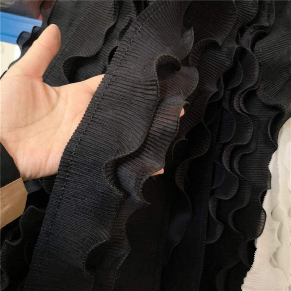 con volantes y flores en 3D Cinta de gasa plisada de 8 cm de ancho color blanco y negro con encaje el/ástico ideal para coser o hacer manualidades blanco