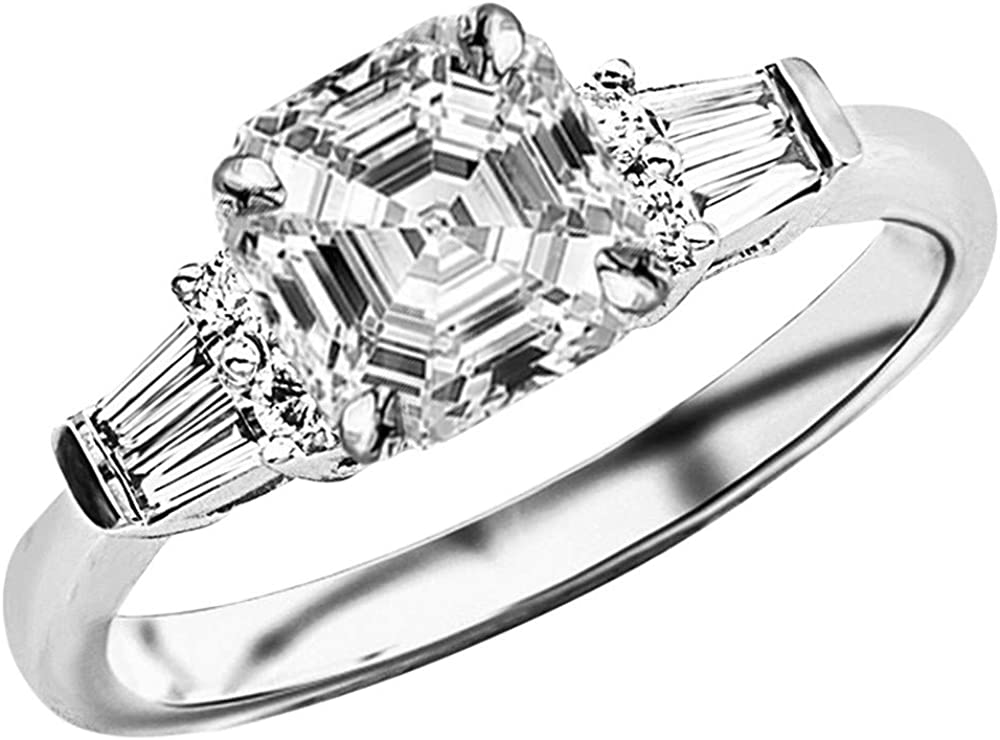 14K Ranking TOP8 Challenge the lowest price of Japan White Gold 4.5 Carat LAB GROWN Prong Round And B Set DIAMOND
