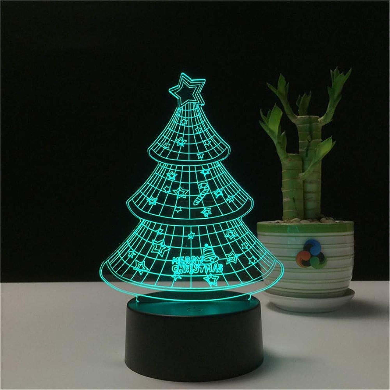 RTFC Night Light 7 color Acrylic 3D Night Light Cartoon Christmas Tree Led Lights Decorative Bedroom Touch Light