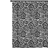 YUAZHOQI - Cortina de ducha de tela gótica intrincada y romántica con elementos de diseño femenino y contornos de espirales de flores, cortinas de baño impermeables para decoración del hogar, 152...