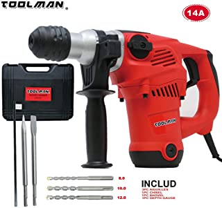 Toolman Electric Power Drill Driver 14 Amp 730RPM Rotary Hammer For Heavy Duty Corded works with DeWalt Makita Ryobi Accessories
