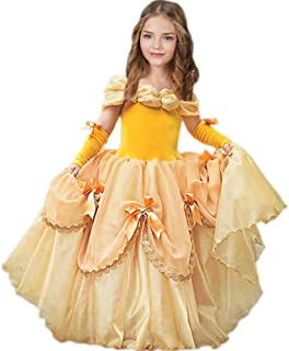 c7124ca3611b8 CQDY Belle Costume for Girls Yellow Princess Dress Party Christmas  Halloween Cosplay Dress up 2-
