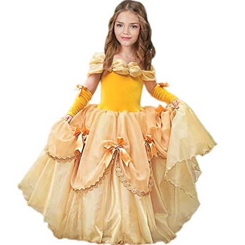 1dac2aafb82a CQDY Belle Costume for Girls Yellow Princess Dress Party Christmas Halloween  Cosplay Dress up 2-