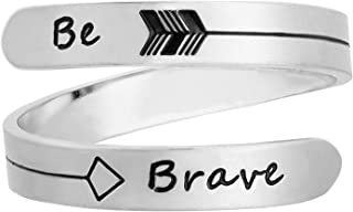 Vrycot Adjustable Inspirational Keep Going Ring Stainless Steel Adjustable Never Giver up Bands Cool Stacking Opening Gift...