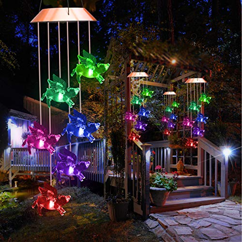 Lampelc Solar Fly Pigs Wind Chimes, Color-Changing Outdoor Decoration Waterproof LED Memorial Wind Chime Solar Powered Colorful Light for Home Party Yard Garden Decor