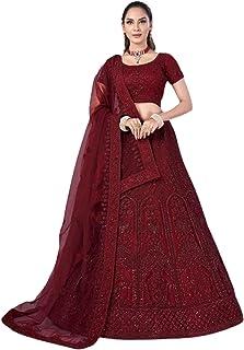 maroon Indian trendy Net Dori & Zarkan Diamond Wedding Reception Lehenga Chaniya Choli Dupatta 6228