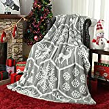 Guucha Soft Christmas Fleece Sherpa Throw Blanket, 50x60 Light Weight Christmas Reindeers, Snowflakes, and Holly Print Cozy Cotton Reversible Blanket Home Decoration, Grey