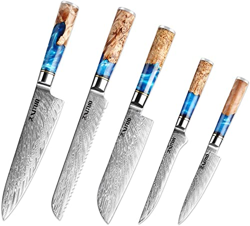 new arrival XITUO wholesale Kitchen Chef Knife Set 5 Piece, 8'' Chef Knife online sale , 7.5'' Bread Knife, 7''Santoku knife Damascus Steel-VG10 Blue Resin Wood Handle -Gift Box - w/knife Sheath (5PC Chef Knife Set) online