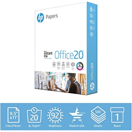 HP Papers Printer 8.5x11 Office 20 Lb 1 Ream 500 Sheets 92 Bright Made in USA FSC Certified Copy Paper HP Compatible 112150R