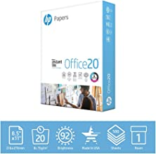 HP Paper Printer 8.5x11 Office 20 lb 1 Ream 500 Sheets 92 Bright Made in USA FSC Certified Copy Paper HP Compatible 112150R