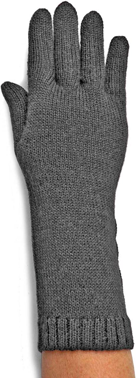 100% Baby Alpaca Wool Women's Long Jersey Knit Gloves - Warm and Lightweight