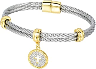 Ladies Faceted Cubic Zirconia Cable Wire Charm Bangle (One Color / 5 Styles)