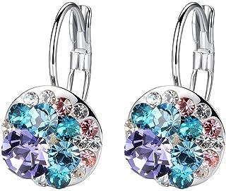Multicolored Swarovski Crystal Earrings for Women Girls 14K Gold Plated Leverback Dangle Hoop Earrings