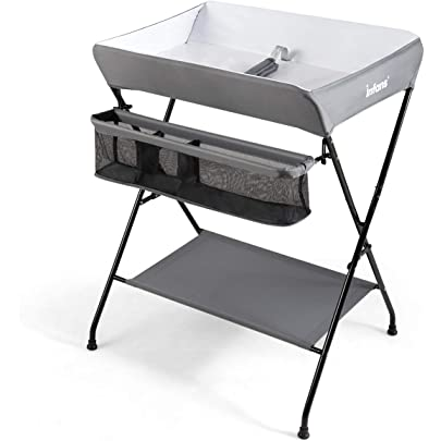 Dark Gray Costzon Baby Changing Table Folding Diaper Station Nursery Organizer for Infant