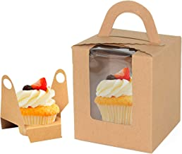 "Kraft Cupcake Boxes 50pcs Portable Single Cupcake Carrier Holder with Clear Window and Insert, 3.7"" x 3.7"" x 4.3"" Christma..."