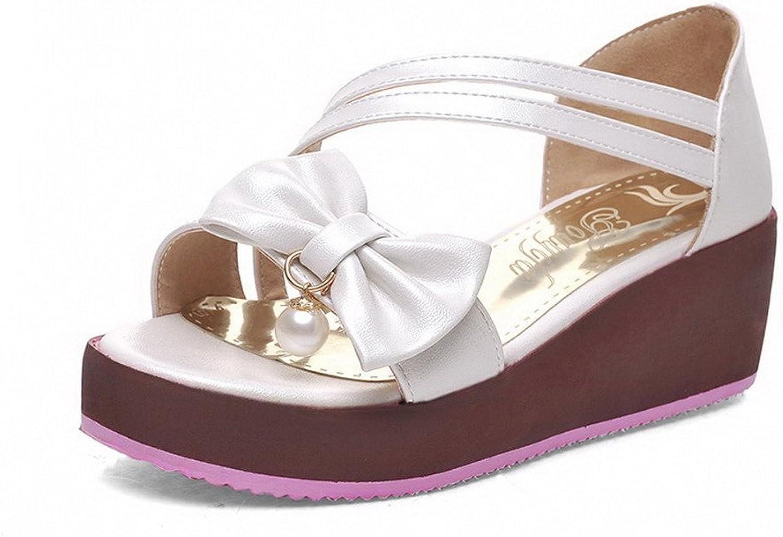 AmoonyFashion Women's Solid Pu Kitten Heels Open Toe Pull On Sandals