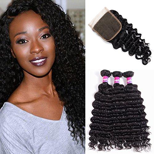 Brazilian Deep Wave Virgin Hair 7A Cheveux frisés 3 Bundles Weft Avec 1 Fermeture Part gratuite 100% Remy Extensions de cheveux humains Naturel Noir Couleur 1B # By Originea(12\